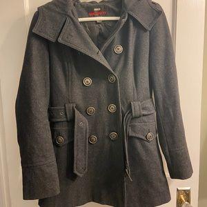 Miss Sixty Women's Grey Wool Pea Coat with Hood